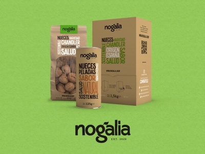 Nogalia Packaging custom lettering illustration dribbble nuts natural eco packaging handmade logo design branding