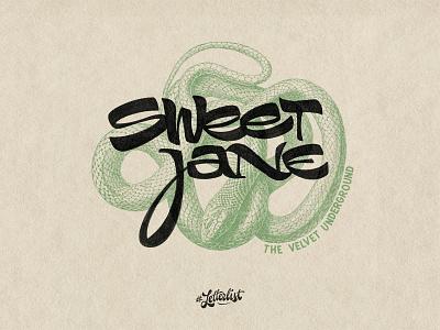 Sweet Jane underground velvet letters typeface music type dribbble custom typography lettering handmade