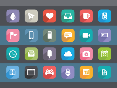 24 Simple Flat Icons