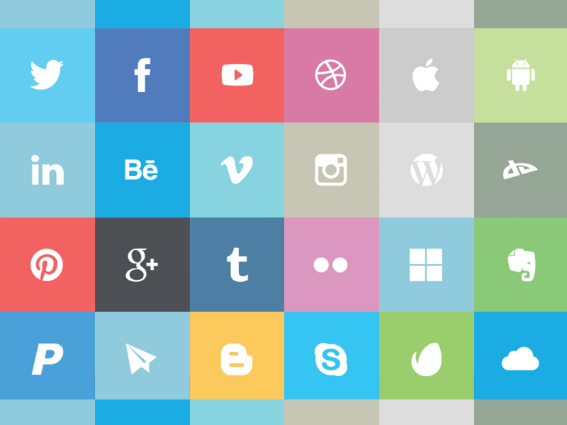 24 Free Flat Social Icons freebie free flat design flat icons metro style social icons