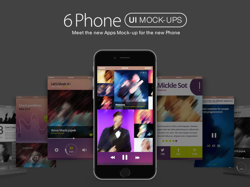 FREE iPhone 6 UI Mock Ups app ui mock-ups application mockup app mockup iphone 6 iphone 6 mockup mobile mockup multi screen mockups responsive mockup screen mockup showcase ui mockup freebie mockup