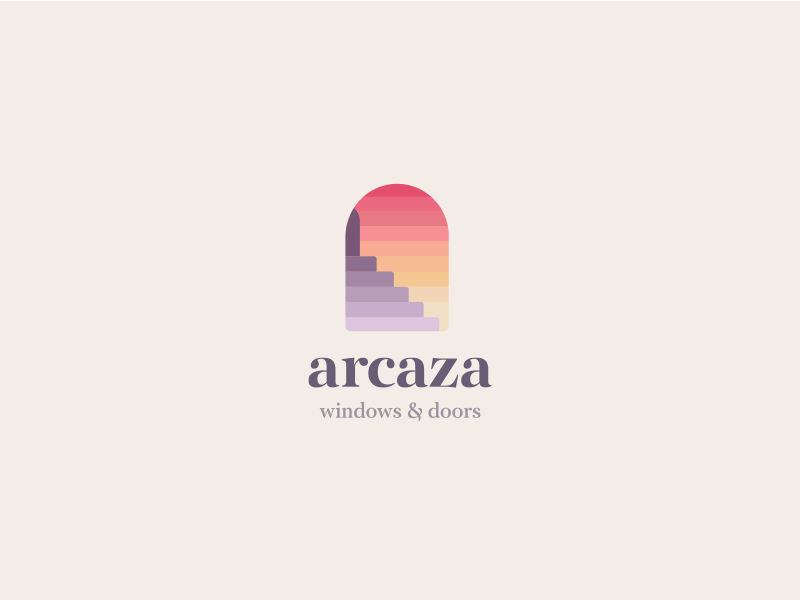 Arcaza Logo Design windows logo doors and windows logo design brand identity color gradient stairs windows doors buildings architecture logo branding