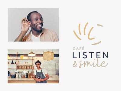 Listen & Smile Logo Concept hand logo coffee logo branding smile logo listen  smile hear logo listen logo café logo