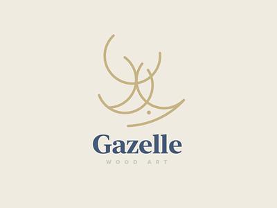 Gazelle Wood Art Logo geometry mark logotype logo illustration horns branding antlers deer logo deer animal logo wood art