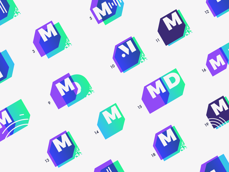 Massive Data Logo Design Exploration podcast logo m logo purple design exploration exploration brand branding logo data logo massive logo m letter