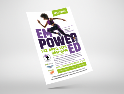 Waitr Event Flyer fitness workout women event flyer poster design branding