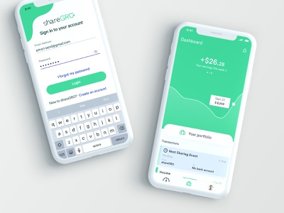 shareGRO pwa finance app sketch finances dashboad invest fintech finance ui ux