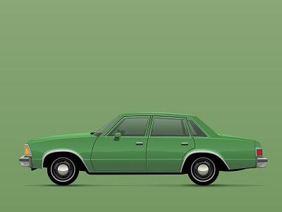 80s Malibu Classic car vehicle vector illustration