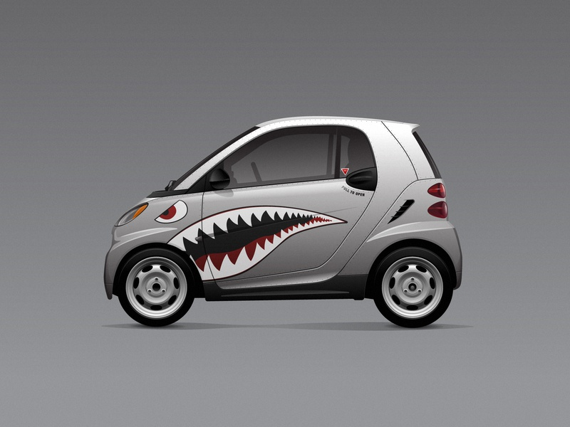 Shark Fortwo car vehicle vector illustration