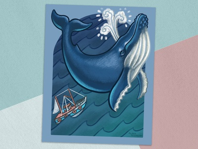 Inktober - Whale waves ocean sea procreate inktober inktober 2018 whales mammal sea life fishing ocean life what a story whale tale fishing boat animals editorial illustration illustration editorial whale
