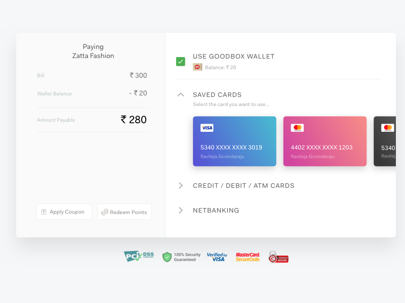 Web Payment checkout points coupon web pay netbanking card details enter card debit card credit card payment methods modes of payment