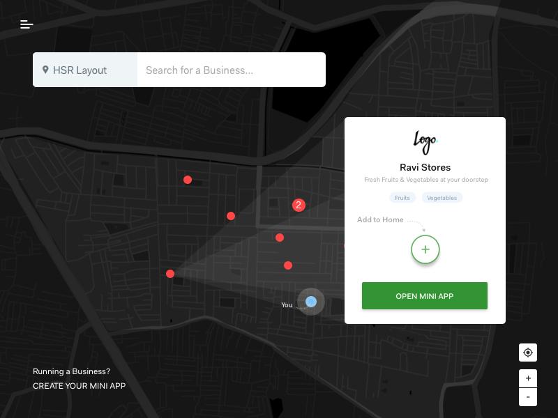 Explore Map search explore businesses black map dark map map view