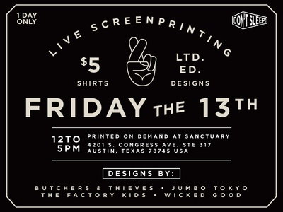 Friday the 13th $5 t-shirts