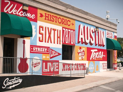 6th Street Mural lance mcilhany jed taylor tony sanchez dan grissom mural typography hand paint austin texas