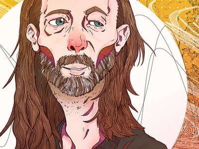 Thom Yorke portrait art illustration paranoid music thom yorke radiohead portrait