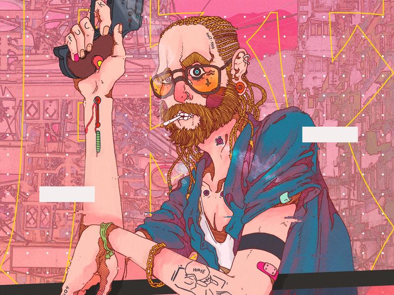 Chancho paranoid portrait graphic novel cyberpunk comics comic book illustration