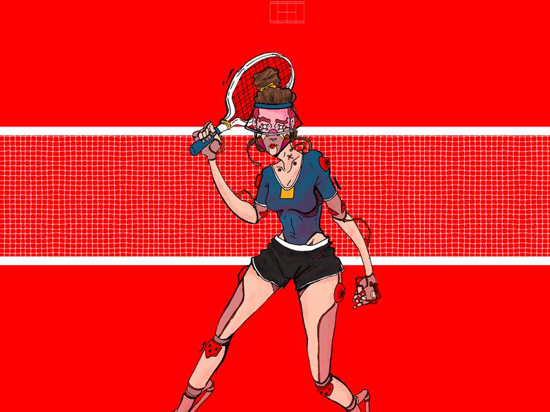 Tennis Player portrait graphic novel comics cyberpunk comic book illustration