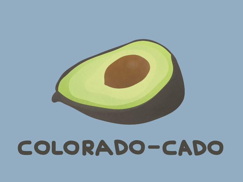 DINOFEED Colorado-cado Postcard postcard colorado-cado colorado illustration dinofeed dino feed avocado