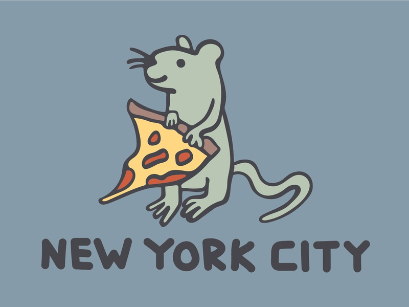 DINOFEED Pizza Rat Postcard drawing illustration rat new york city pizza pizza rat postcard dino feed dinofeed