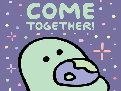 Together Poster community together covid-19 covid earth come together peace space dino feed dinofeed illustration @dinofeed