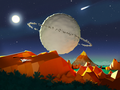 The View space illustration lowpoly c4d cinema4d planet skillshare