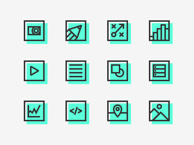 Things we do - Icons end back localisation front end design copywriting motion analytics strategy illustration photography icon