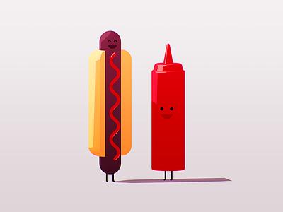 Suzie & Tommy photoshop illustration c4d ketchup hot dog