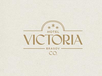 Hotel Victoria typeface logo design geometry texture logotype letters branding badge monogram logo hotel