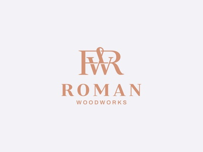 RW monogram woodworks woodwork kitchen woodshop wood chopper font logotype branding letters badge brand monogram logo
