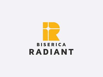 Radiant Church r light cross christian religion geometry branding letters badge brand monogram logo