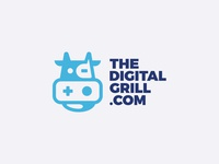 The Digital Grill talk grill animal playstation digital cow illustration design icon logo design texture logotype branding badge monogram logo
