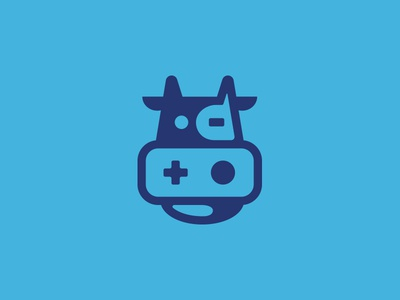 The Digital Grill animal play icon illustration logo design branding brand logo playstation play digital cow