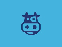 The Digital Grill animal play icon illustration logo design branding brand logo playstation play digital cow