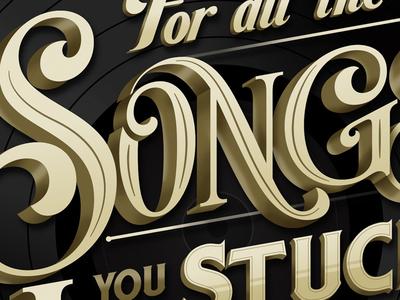 AMA's lettering amas chrysler gold black type print vinyl music record
