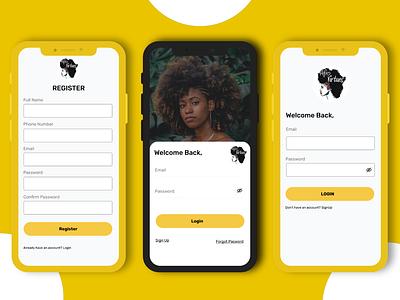 AFroVirtue App Redesign signup login figma design ui mobile app ui design