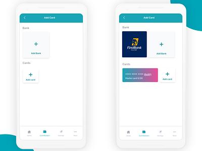 Finance App - Wip add card ux design finance app wireframe mobile app ui design
