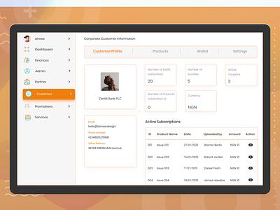Dashboard - Customer Profile admin dashboard dashboard customer profile finance dashboard dashboard ui ui design