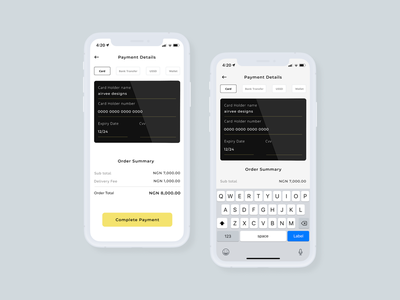 Card Payment payment methods payment details card restaurant app mobile app order summary