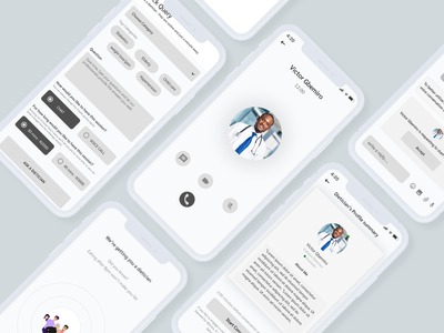 Wireframe for a Telemedicine mobile app chat app video call health ui mobile app ui design