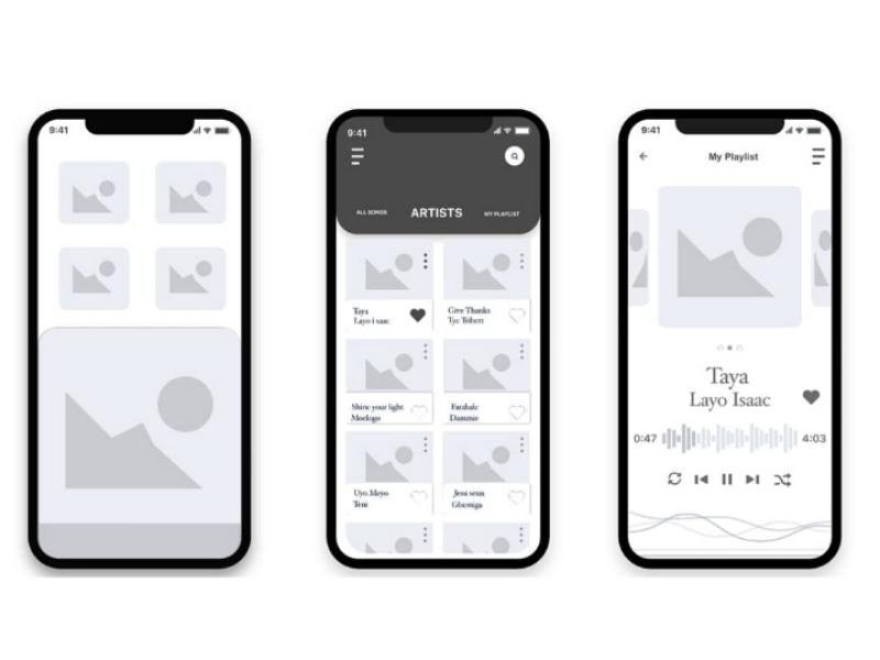 Wireframe for a Music App first shot music app mobile app android ui ux wireframe color exploration ui design