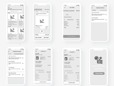 Coffee Ordering App - Wireframe adobe xd ux process ui design ux design wireframe