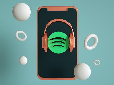 Spotify 3D Illustration logo spotify modern design cinema4d 3d