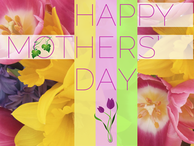 Happy Mothers' Day fireworks card flowers