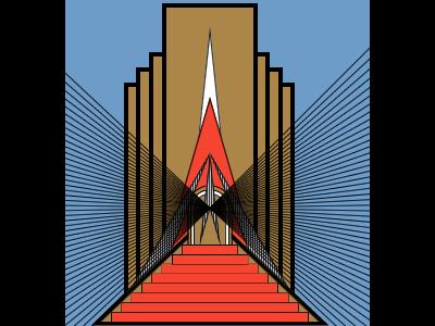 Art Deco Reproduction art deco fireworks illustration