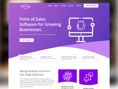 Product page for POS SaaS application web sketch point of sales ui ui  ux design
