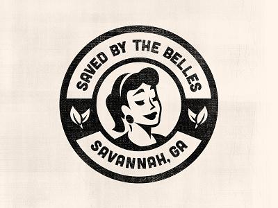 Saved By The Belles logo vintage woman illustration justin barber