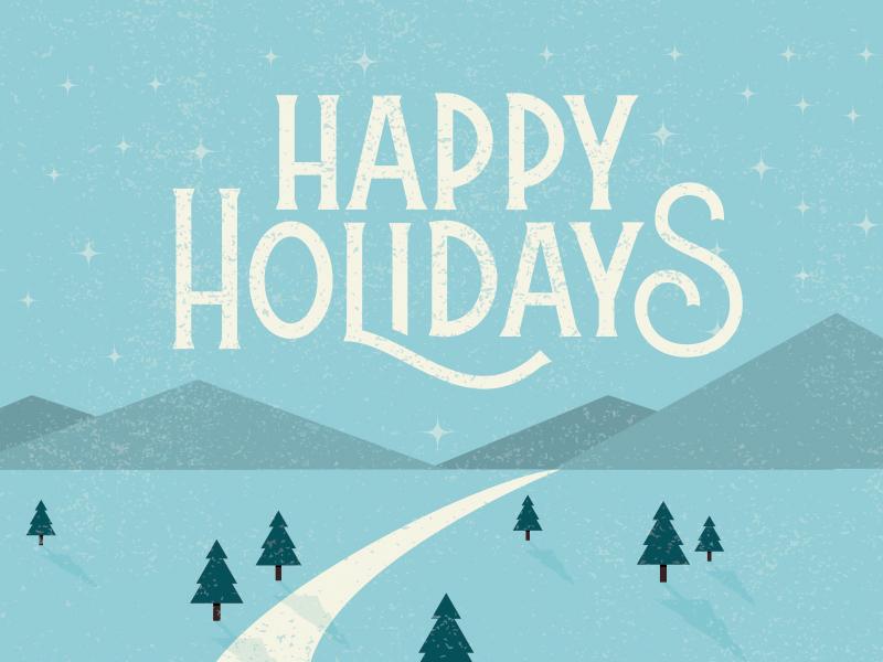 Happy Holidays lettering illustration christmas