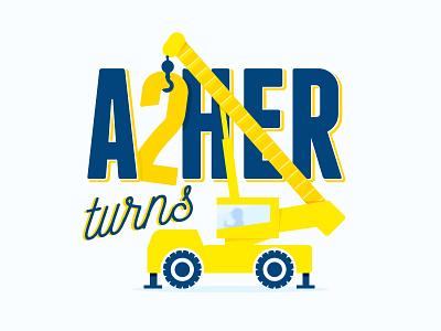 Asher turns 2 crane illustration