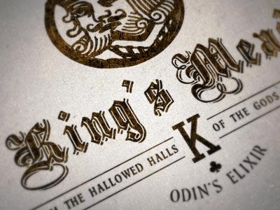 King's Mead wine label design vintage blackletter justin barber