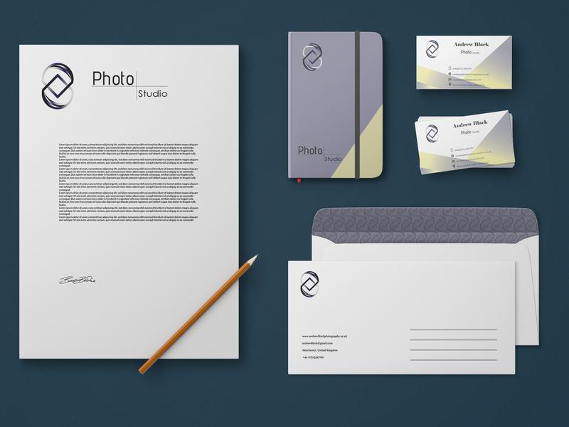 Stationary for Photo Studio Branding Concept vector logo a day icon branding illustrator logo identity icon logo identity illustrator cc flat brand identity logo design adobe illustrator